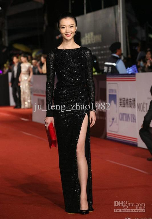 Wholesale Long Sleeve Black Lace Beaded Split Formal Evening Prom Dresses 2013 Handmade Wedding Bridal Gowns, Free shipping, $218.0/Piece | DHgate