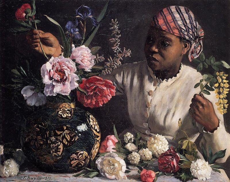 African Woman with Peonies by Jean Frederic Bazille