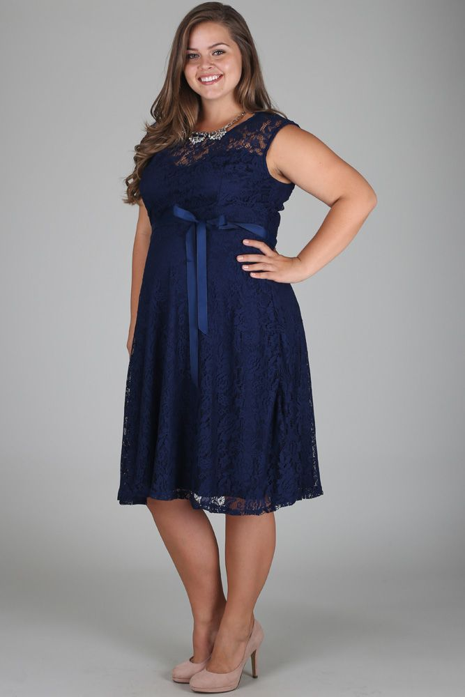 9568276f6d Navy Blue Lace Plus Size Maternity Dress in 2019