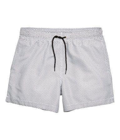 83495c8e1b3 Patterned Swim Shorts | White/black | Men | H&M US | Beachwear | H&m ...