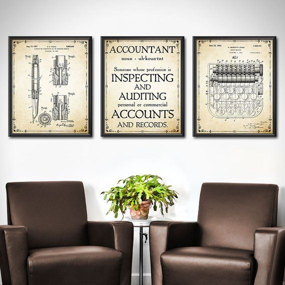 Vintage Looking Accountant Pictures Office Decor Office Wall Art Wall