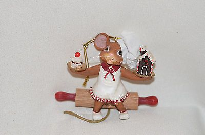 Mouse Chef with Gingerbread House Christmas Tree Ornament new