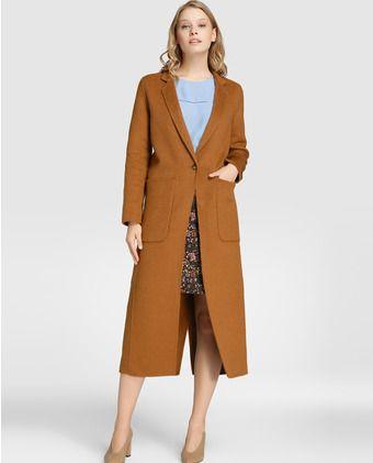 bb7ebb053b212 Abrigo largo de mujer Amitié en color marrón camel