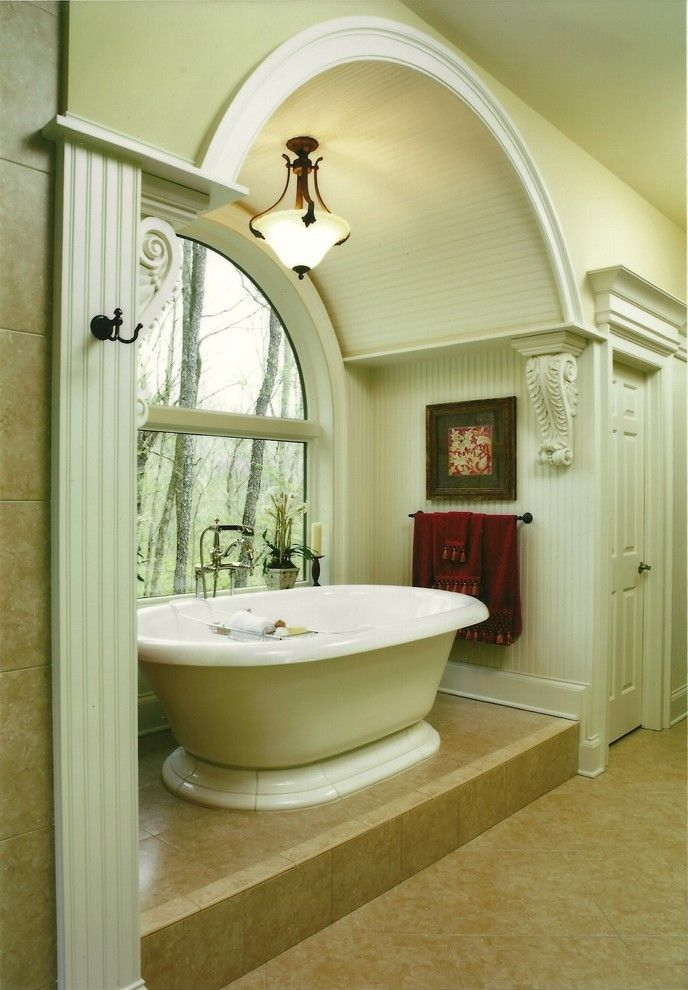 Kohler Archer Tub with Glass Shower Door White Wainscoting Alcove ...
