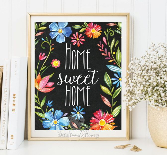 Home Sweet Home Print Entrance Wall Art Welcome Print Decor Art Home Calligraphy Quotes Printable Art Calligraphy Quote Watercolor 3 86 D Etsy Pinturas Cuadros
