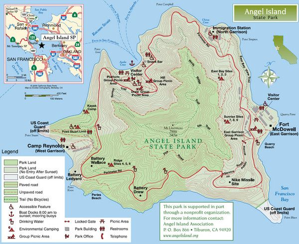 Worksheet. Angel Island State Park Map Get there by ferry from San Francisco