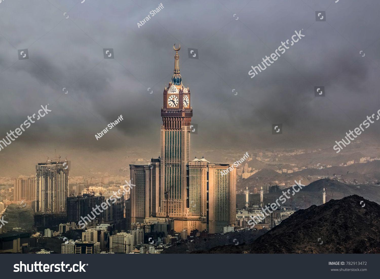 Mecca Saudi Arabia December 26 2017 Skyline With Abraj Al Bait Royal Clock Tower Makkah In Mecca Saudi Arabia N Sp In 2020 With Images Stock Photos Mecca Skyline