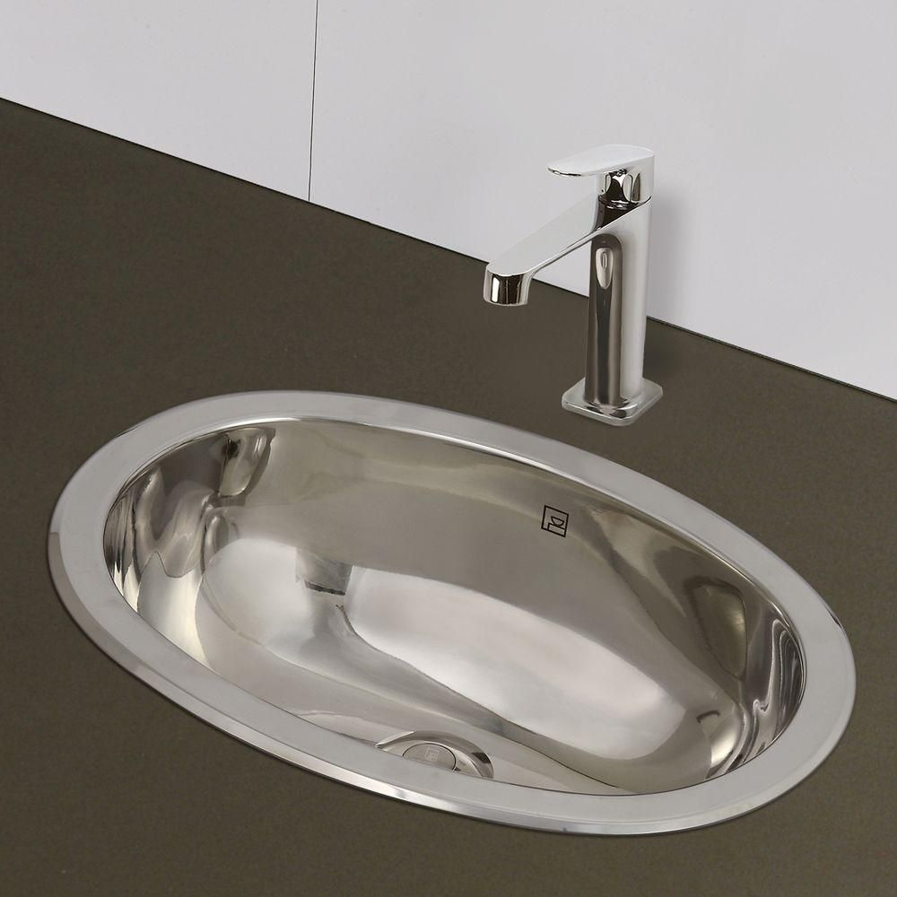 Decolav Simply Stainless Drop In Oval Bathroom Sink In Polished
