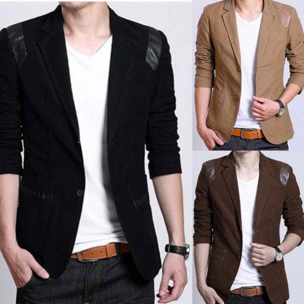 $29.98 / Mens Suits Casual Slim Fit Cotton Double Button Suit via ...