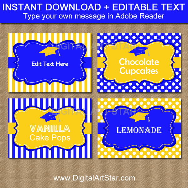Graduation Name Card Template In Royal Blue And Yellow Graduation Candy Buffet Candy Buffet Labels Graduation Candy