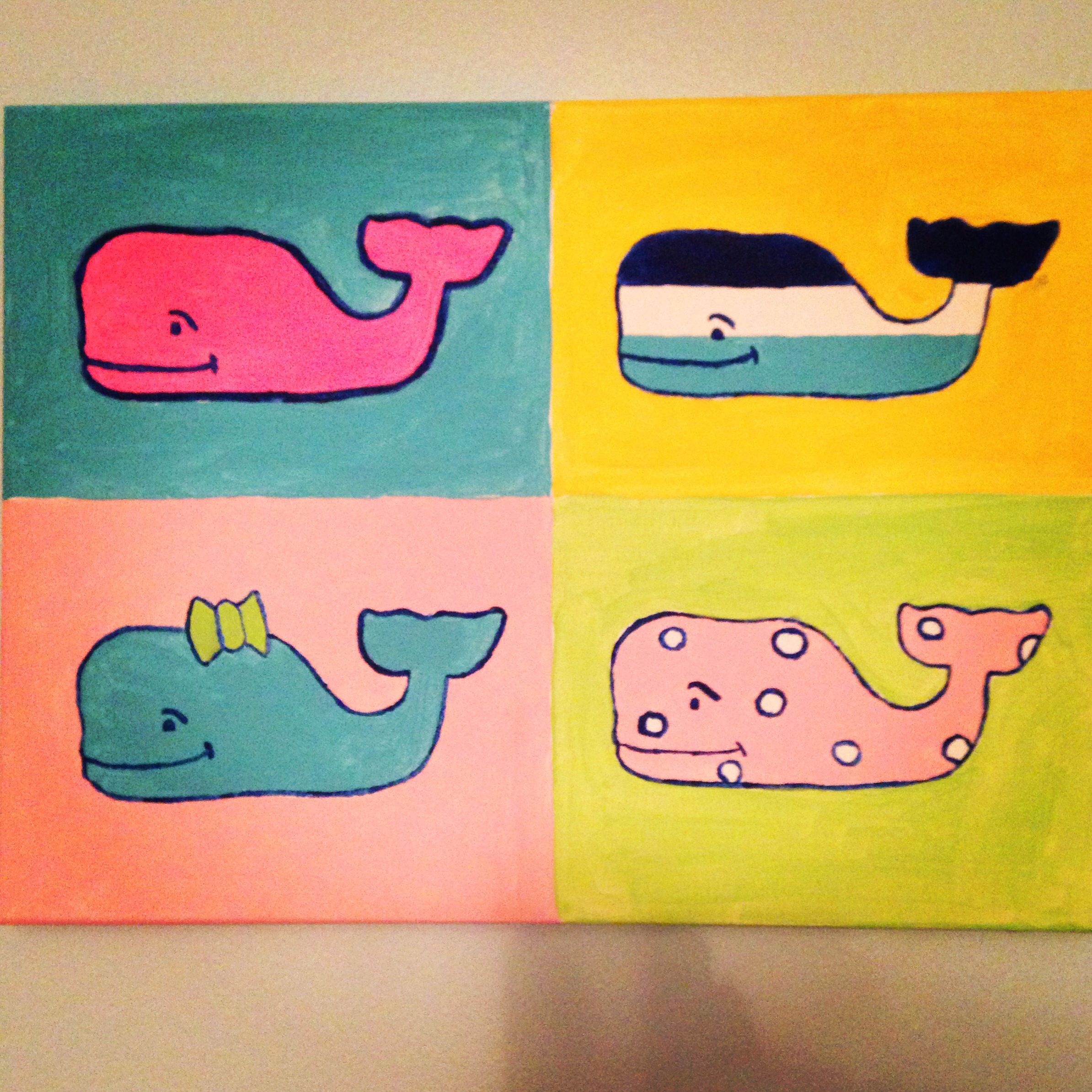 Vineyard Vines Whale Canvas Painting | Canvas Paintings | Pinterest ...