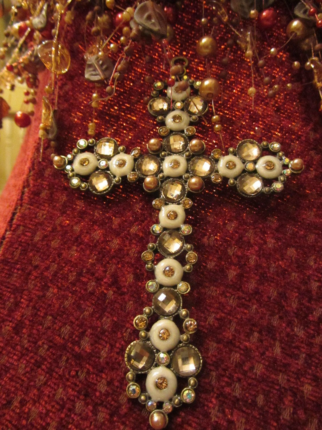 Ivory And Gold Bling Cross Embellishment By