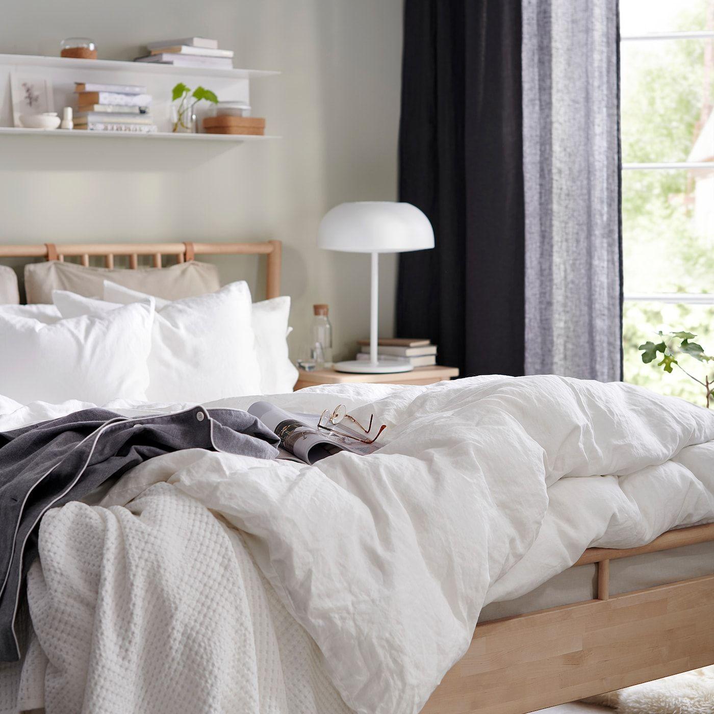 BJÖRKSNÄS Bed frame birch, Luröy Queen in 2020