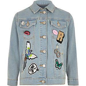 Blauw denim jack met badges voor meisjes