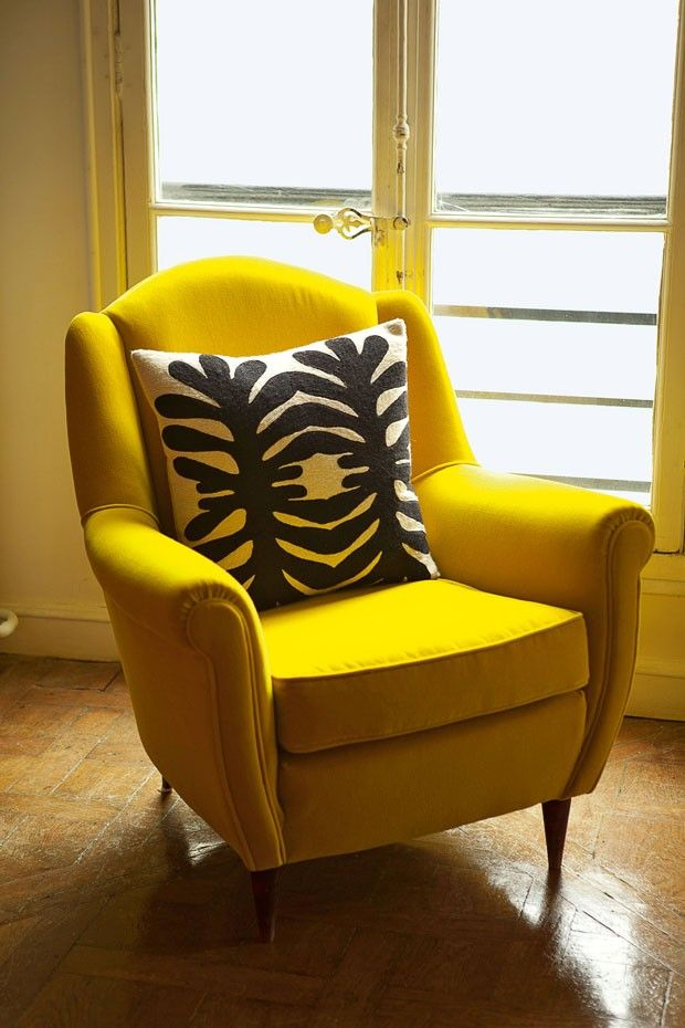 Vintage Yellow Armchair And Printed Cushion By India Mahdavi For Pes Objets Photo Derek Hudson