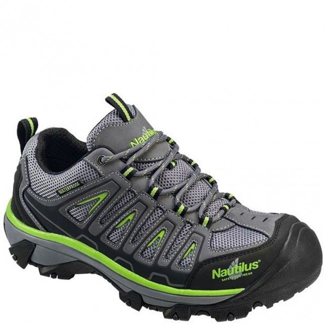 N2208 Nautilus Men\u0027s ST WP Safety Shoes - Gray/Lime www.bootbay.com