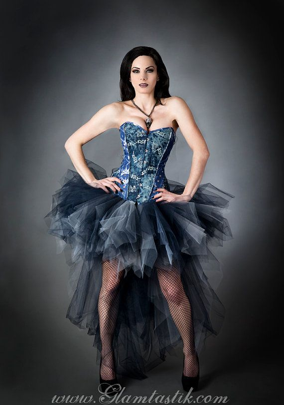 Size Small Punk Rock Blue and silver denim and tulle corset High Low burlesque…