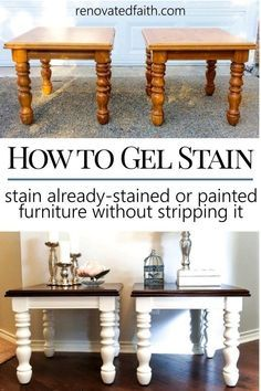 Gel Stain Furniture  MIND BLOWN!  This easy stain over paint technique shows you how to gel stain wood, kitchen tables, dressers and bathroom vanities with little to no sanding.  Colors include Java, Gray, black, walnut,  Minwax colors, General Finishes colors.  Even how to apply to laminate over paint.  General Finishes Gel Stain.  Gel Stain tips.  #gelstain #easydiy