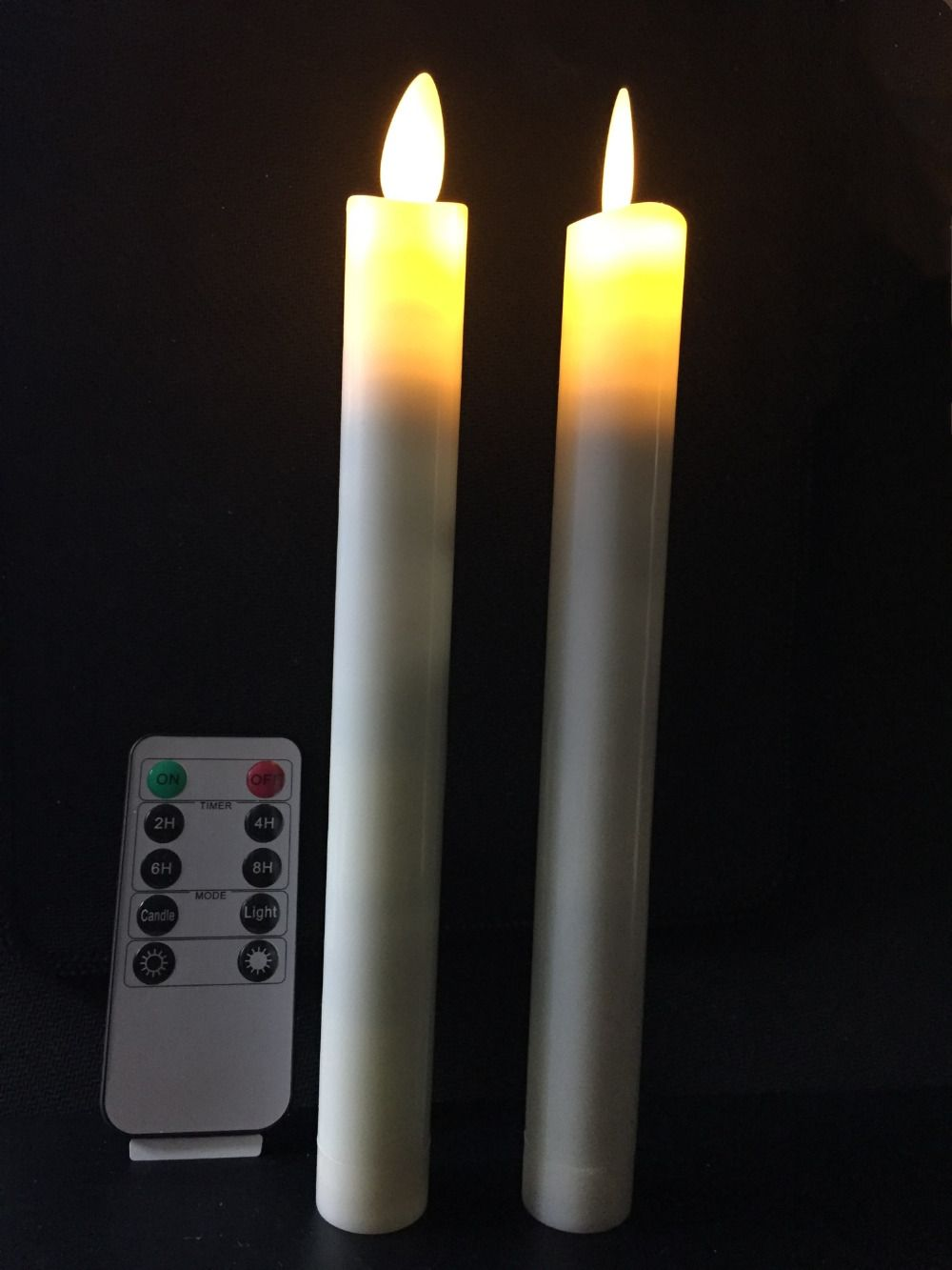 2pcs Moving Dancing Wick Flameless Led Taper Remote Controlled Timer Function Stick Candle F Wedding Xmas Home Table Decor Remote Candles Candles Candlesticks