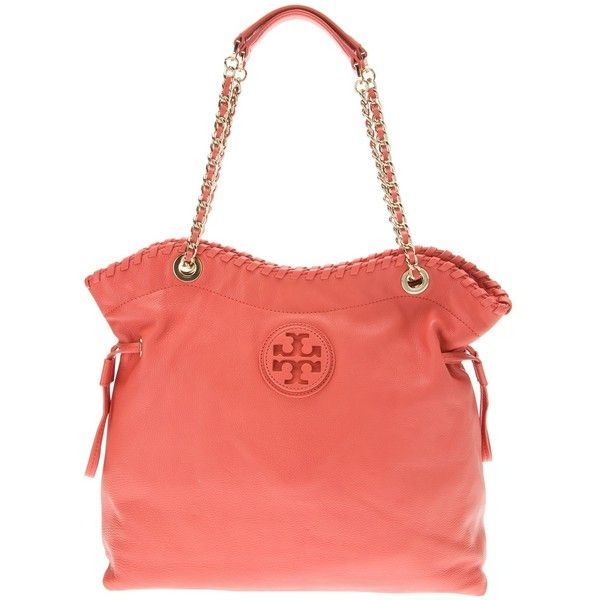 TORY BURCH 'Marion' bag ($576) ❤ liked on Polyvore featuring bags, handbags, tory burch, purses, red leather purse, real leather handbags, drawstring purse and leather drawstring purse
