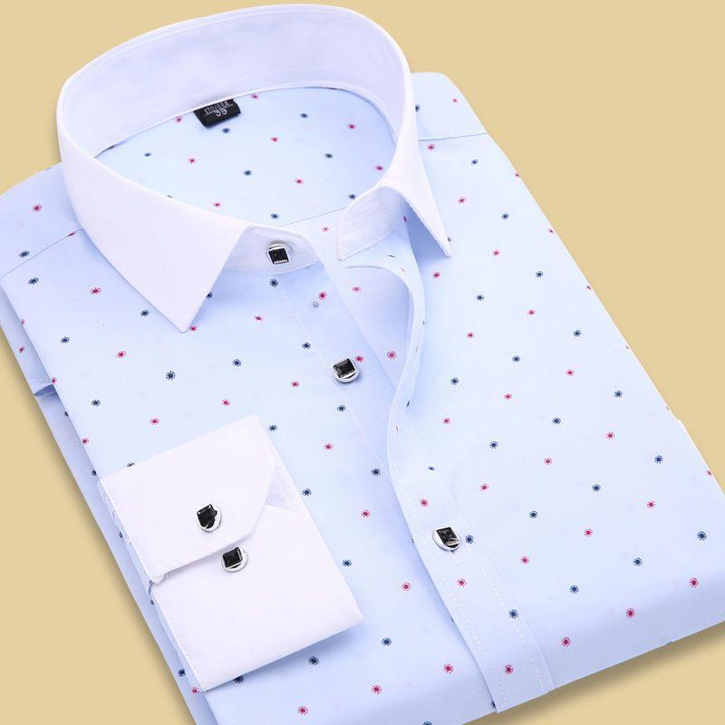 a3fbbe481 Style Mens Clothes Business Luxury Dot Dress Shirts Us Size Xs-Xxl ...