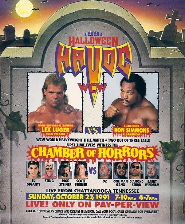 Halloween Havoc 91 Lex Luger Ron Simmons El Gigante Sting Rick Steiner Scott Steiner Abdullah The Butcher Scott H Halloween Havoc Wrestling Posters Wcw