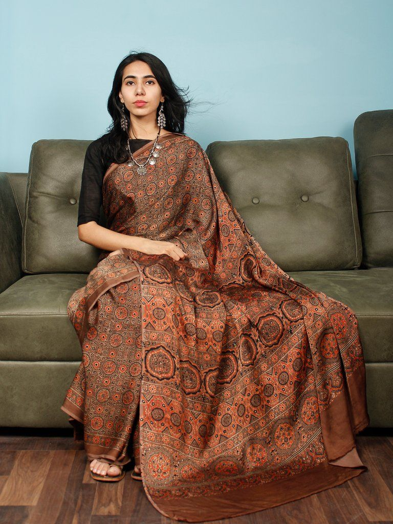 b1d5fcd975ca7 Brown Rust Black Ajrakh Hand Block Printed Modal Silk Saree in Natural  Colors - S031703363