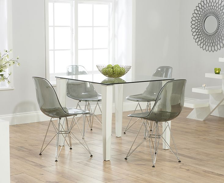 Madison 90cm Clear Glass Dining Table With Charles Eames Style DSR Eiffel Transparent  Chairs
