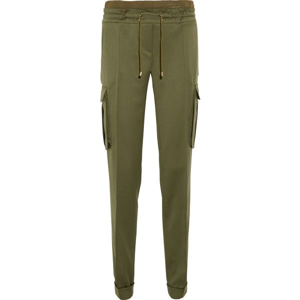 Balmain Wool straight-leg pants (€1.035) ❤ liked on Polyvore featuring pants, bottoms, trousers, army green, highwaisted pants, olive green pants, high waisted trousers, balmain pants and straight leg pants