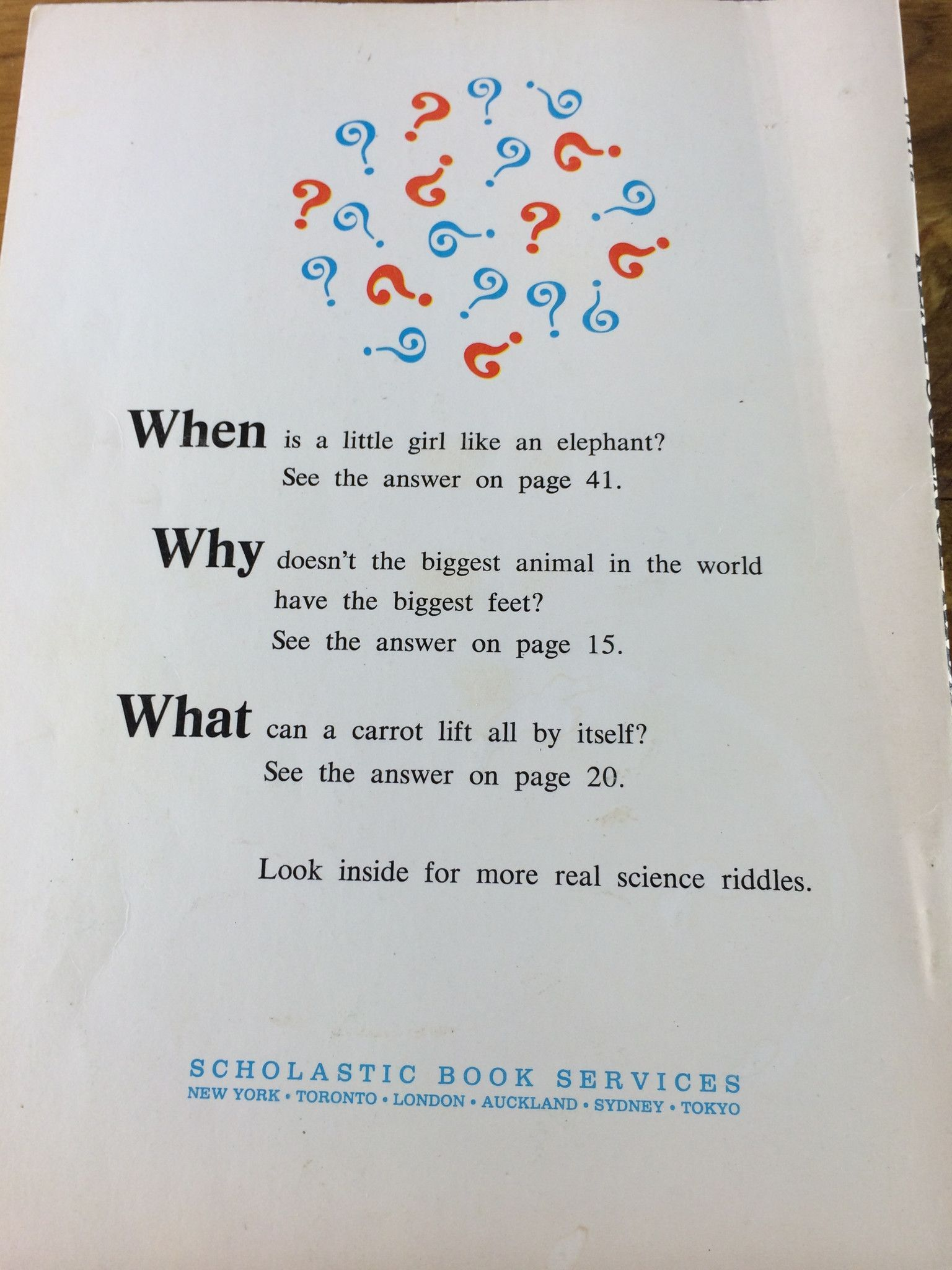 Real Science Riddles by Rose Wyler. Copyright, 1971