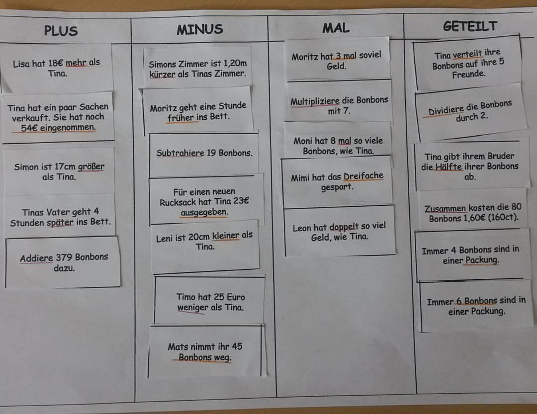 Hinweiswörter in Sachaufgaben erkennen und zuordnen. #mathematik ...