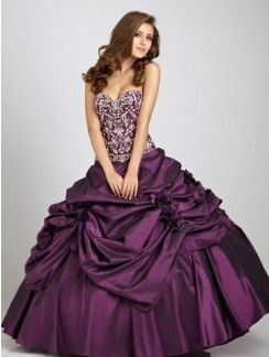 Ball Gown Sweetheart Sleeveless Hand-Made Flower Floor-length Taffeta Dress