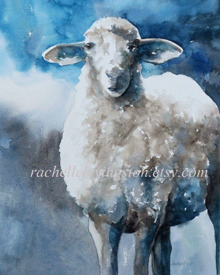 Animal Print Watercolor Painting Sheep Picture Sheep 11x14 Large Sheep Print Art Lamb Print Blue Gray White Grey Littl Sheep Paintings Sheep Prints Sheep Art