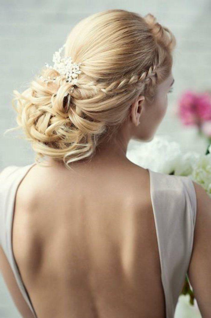 le chignon tress 35 id es qui vont vous charmer coiffure de mariage avec. Black Bedroom Furniture Sets. Home Design Ideas