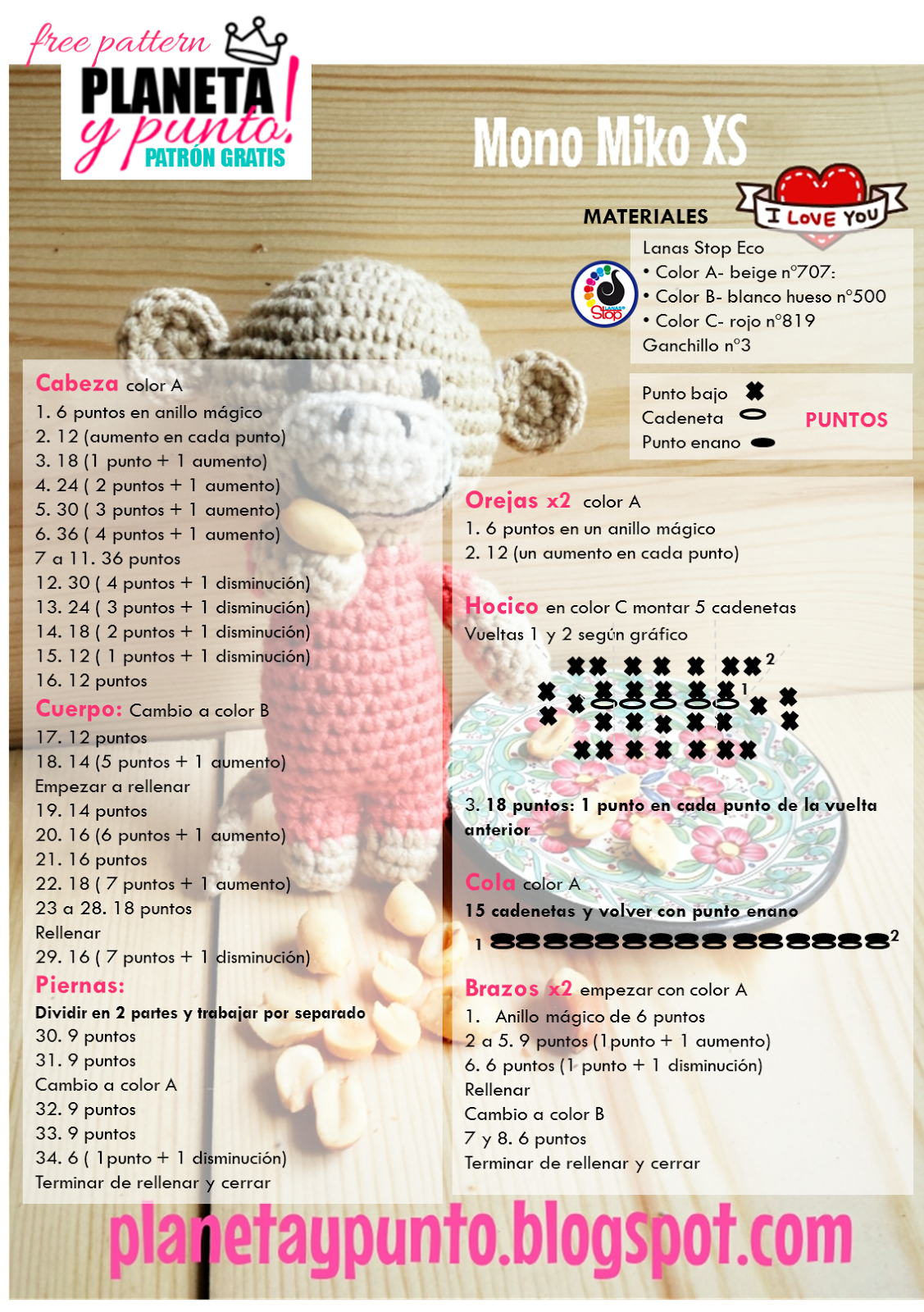 Patron gratis: amigurumi Mono Miko tamaño XS-Free pattern ...
