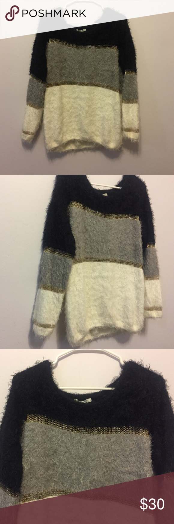 Fuzzy color-block sweater Alberto Makali fuzzy color block sweater in white, black, gray and gold details. Scoop neckline and relaxed silhouette. Acrylic/nylon/polyester. Worn once, great condition! Size medium! Alberto Makali Sweaters Crew & Scoop Necks