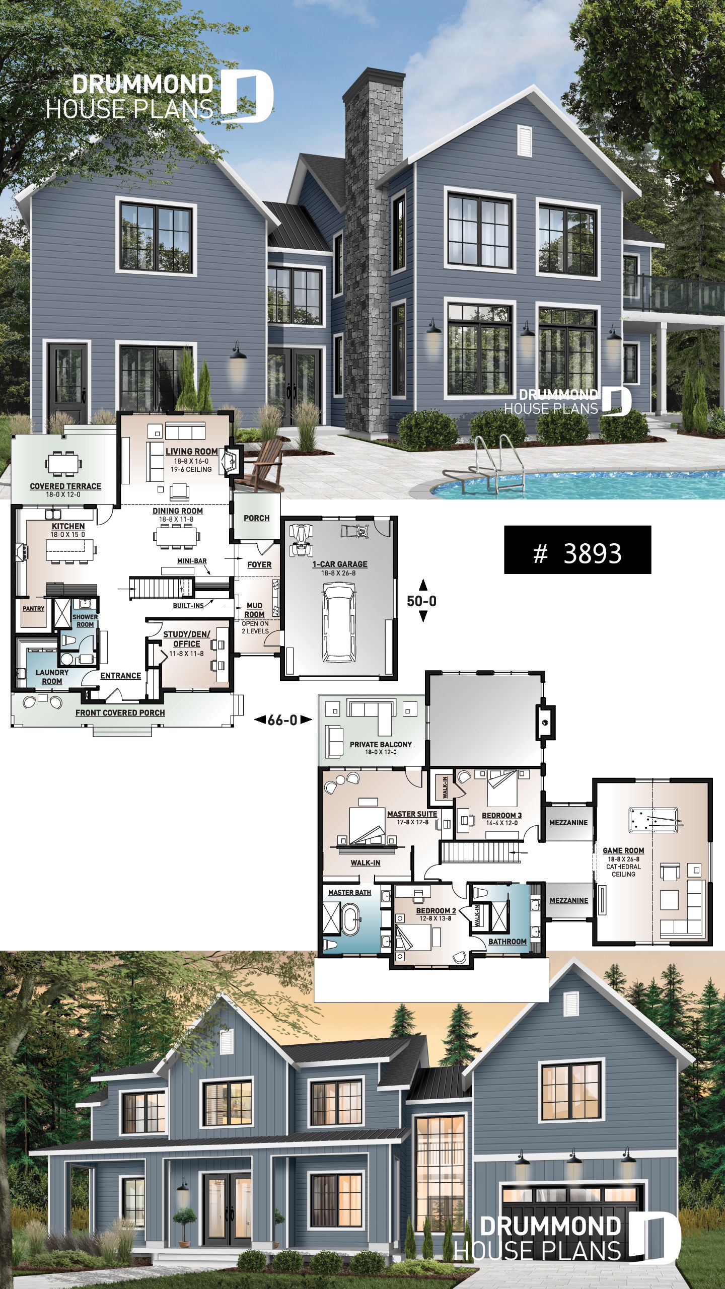 Discover The Plan 3893 Bridge Which Will Please You For Its 3 4 Bedrooms And For Its Farmhouse Styles Modern Farmhouse Plans Modern House Plans Sims 4 House Plans
