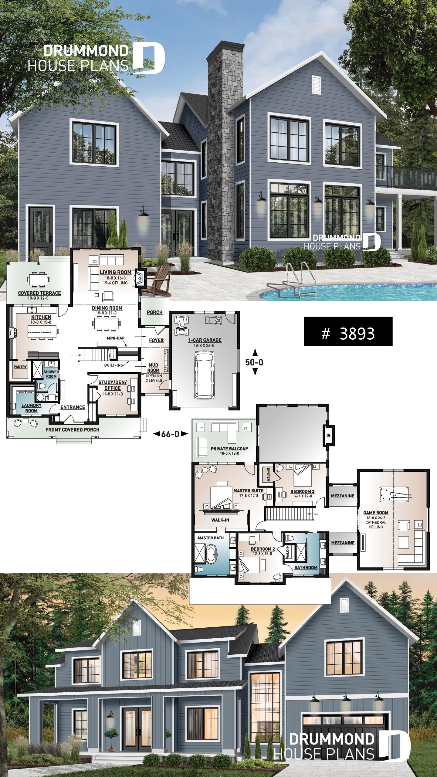 MODERNE LANDWIRTSCHAFT MIT KATZWEG, GARAGE, ABDECKUNG VORNE UND HINTEN, KAMIN   – Modern Farmhouse and Farmhouse Home Plans