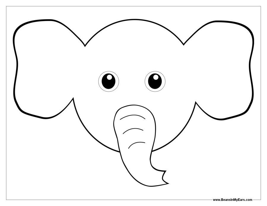 Elephant Mask Template Black White Elephant Mask Printable Clipart Best Elephant Mask Tem Elephant Coloring Page Unicorn Coloring Pages Cute Coloring Pages