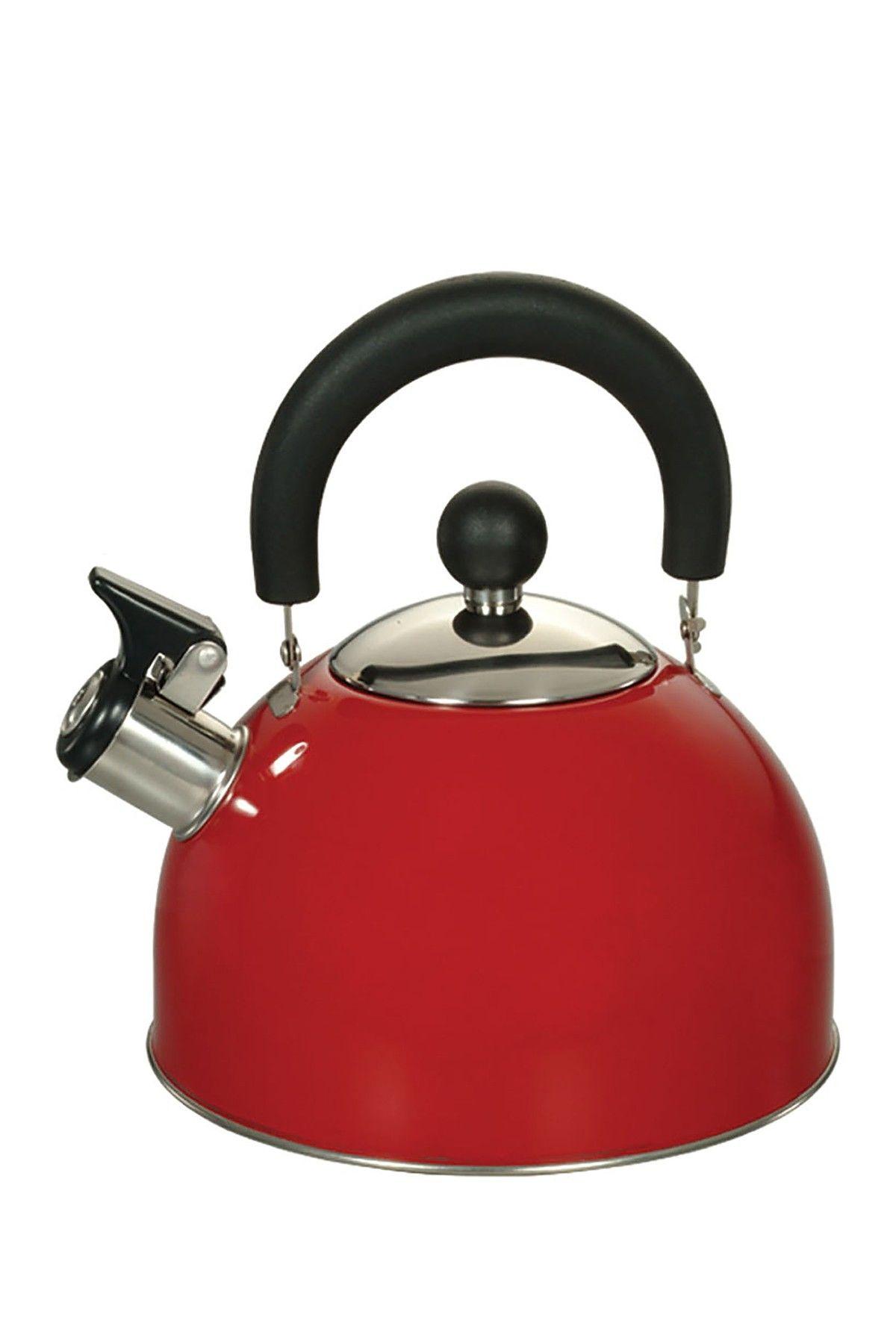 euroware whistling stainless steel red 2 5 qt kettle home design