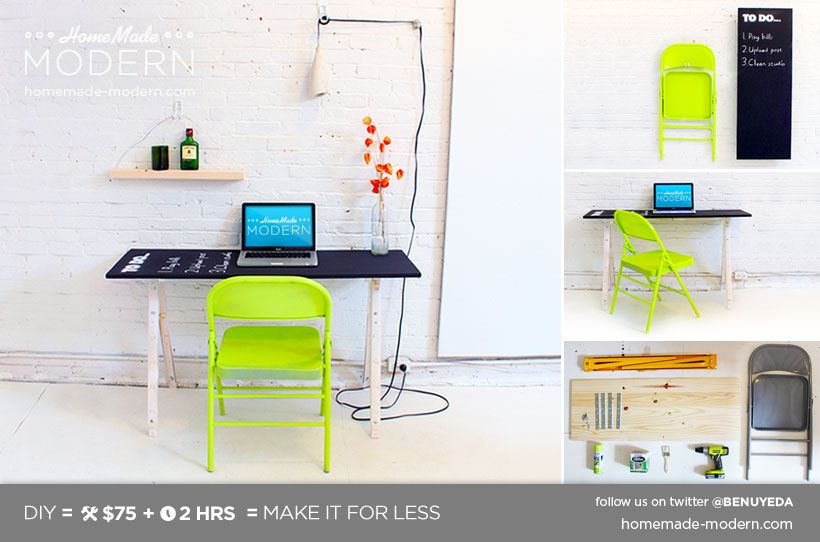 Homemade modern ep24 the fold up office make a collapsible desk that can easily folds up and hangs on a wall pair the desk with a classic metal folding