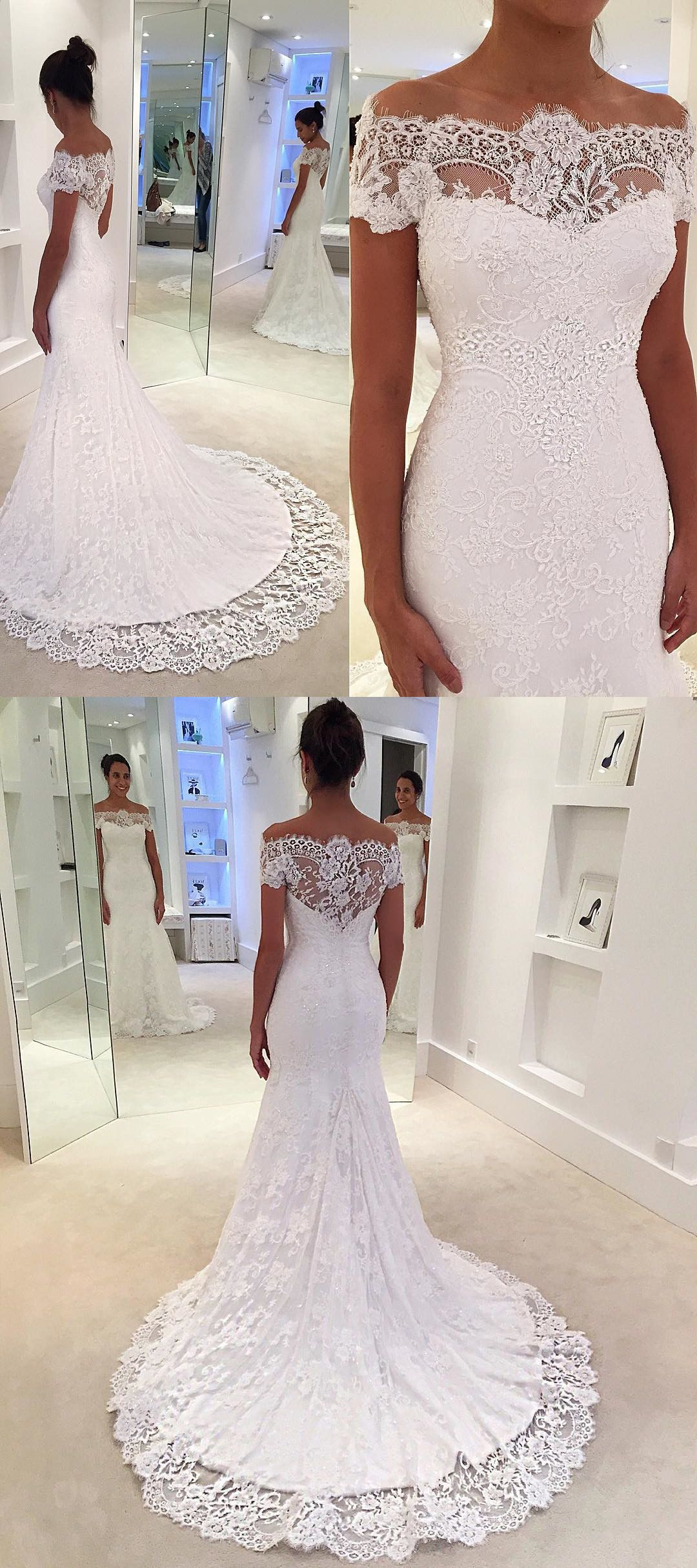Gorgeous Off The Shoulder White Lace Mermaid Wedding Dress Lace Mermaid Wedding Dress Bridal Dresses Lace Online Wedding Dress [ 2430 x 1080 Pixel ]