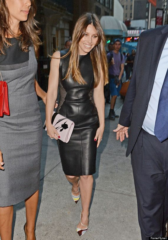 I want a leather dress so much for fall. Particularly like this one on  Jessica Biel. f92fcc95bc0