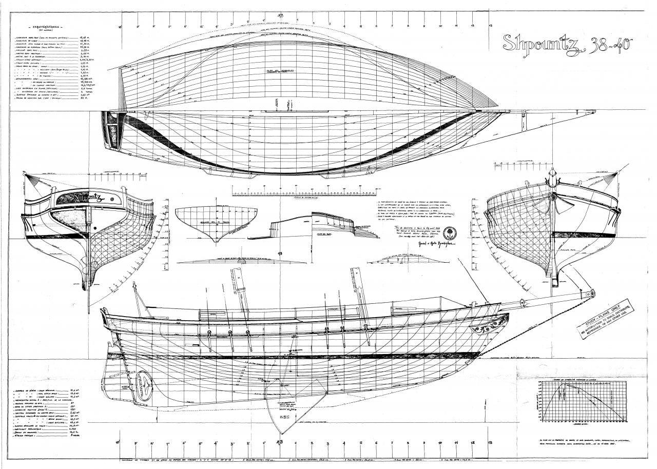 Shpountz 38-40, plans de carène par Daniel Z. Bombigher