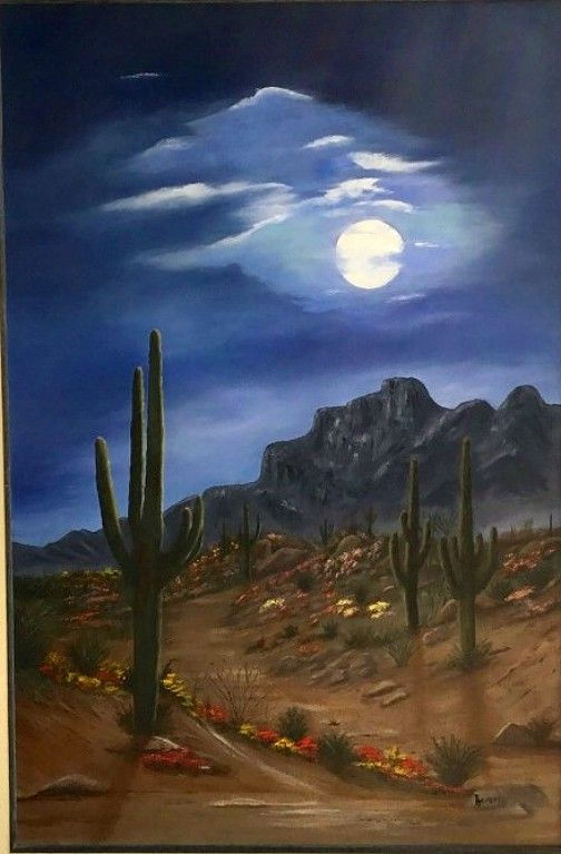 24x36 Framed Desert Scene Original Oil Painting Saguaros In The