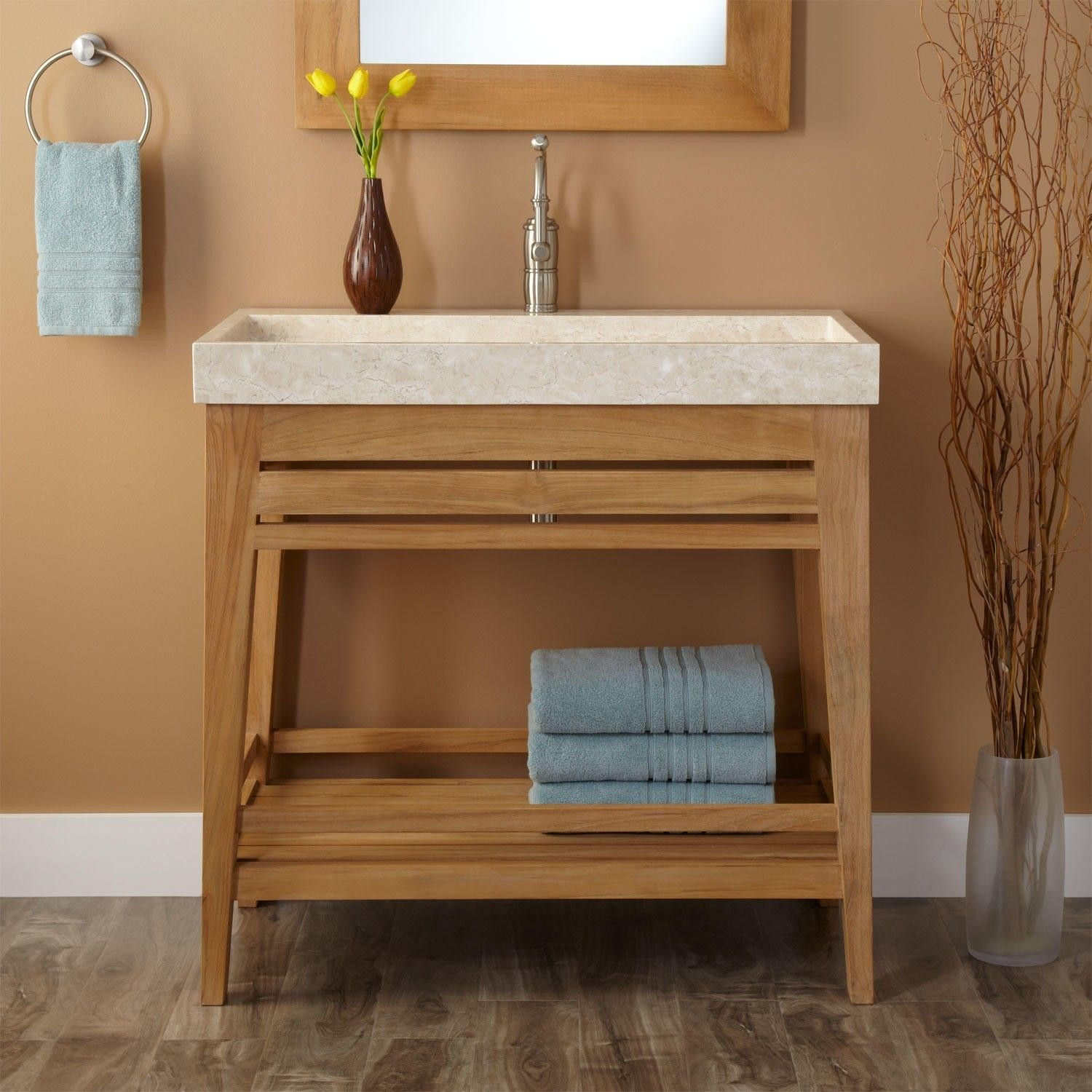 Modern Natural Wooden Open Shelves Vanity With Marble Trough Sink Of Charming Open Shelf Bathroom Vanity Design Ideas And Bathroom Furniture Count Ikea Storage