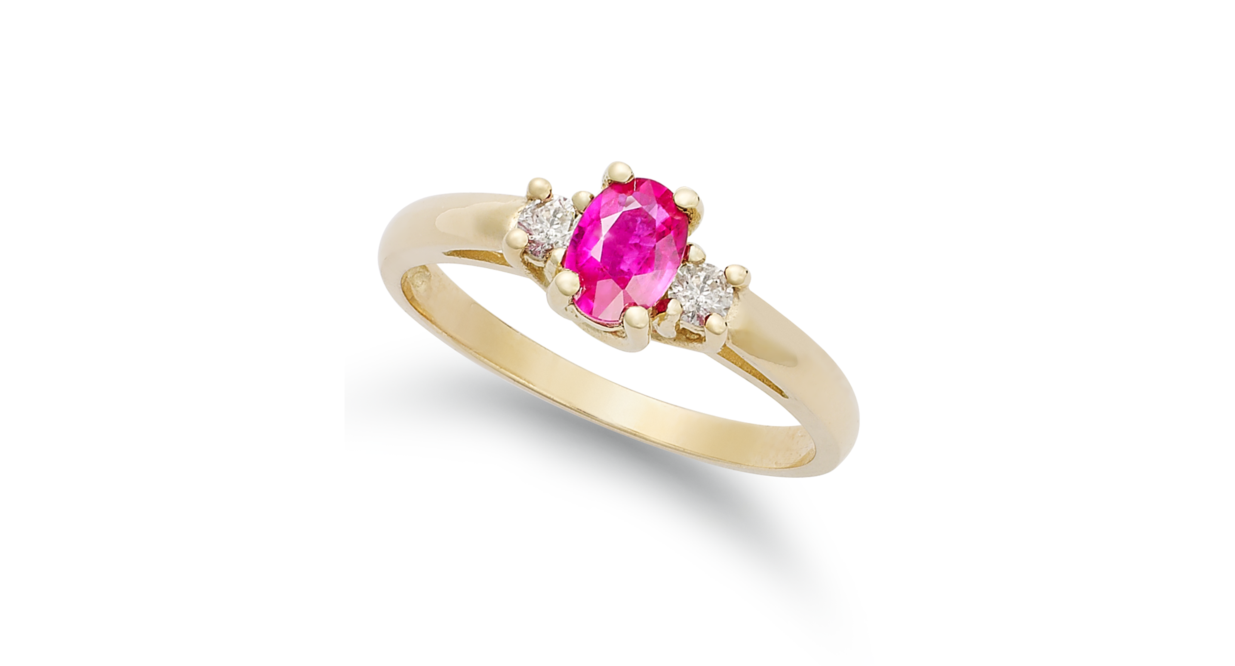 14k Gold Ring, Ruby (1/2 ct. t.w.) and Diamond (1/8 ct. t.w.) 3-Stone Ring