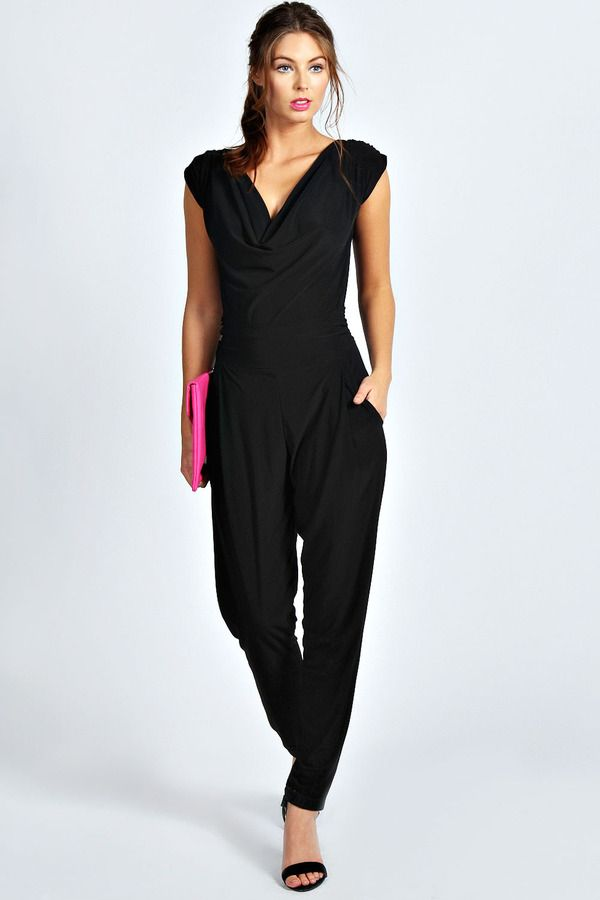 ecd06b9949 Boohoo Candice Cowl Front Tapered Leg Jumpsuit on shopstyle.co.uk ...