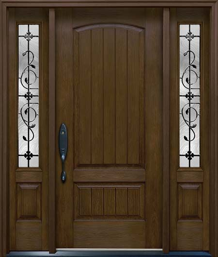 Mediterranean Style Front Doors: Clopay Rustic Collection Stained Cherry Fiberglass Front