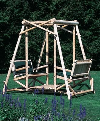 Lakewood swing our lakewood swing is perfect for your leisure area durable cedar log - Wooden garden swing seat plans perfect tranquility ...